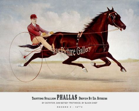 Fine art Horseracing Print of the 1800's Racing and Trotting of the Trotting Stallion Phallas